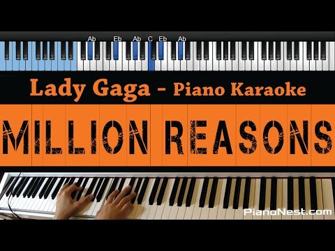Lady Gaga - Million Reasons - LOWER Key Piano Karaoke  Sing Along