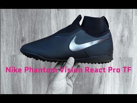 b35f8fca Nike Phantom Vision React Pro TF 'All Black' | UNBOXING & ON FEET |  football shoes | 4K - YouTube