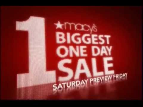 The Macys One Day Sales can happen right in the middle of the week, with the preview day on Tuesday and the One Day Sale itself on Wednesday, even though typically, the Macy's One Day Sale happens on Saturday, with the preview day on Friday.