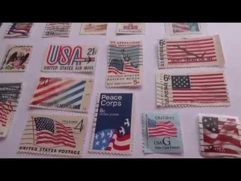 Vintage American Postal Flag Stamps
