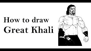How to draw Great Khali sketch drawing step by step