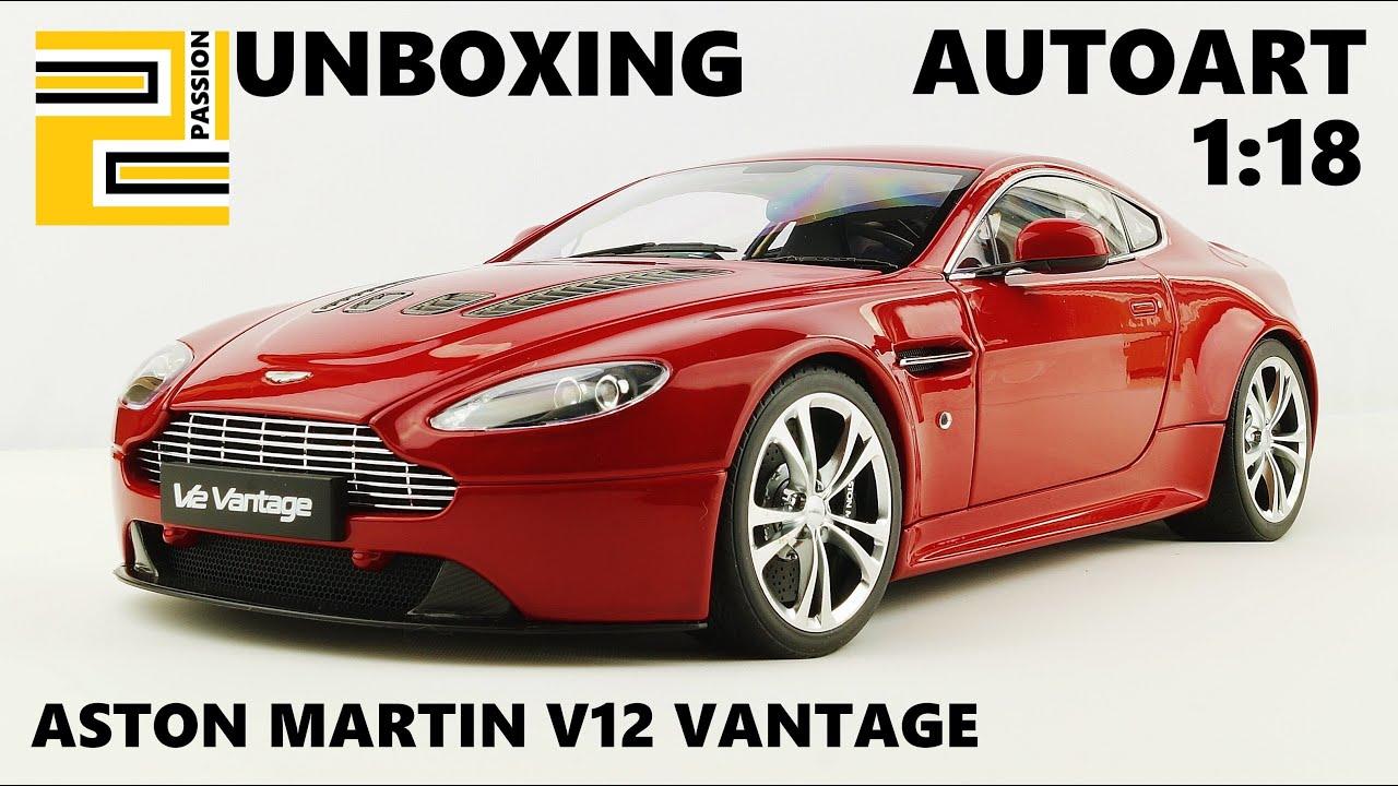 unboxing] aston martin v12 vantage 1:18 autoart red - youtube