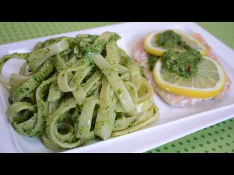 Spinach Pesto with Pasta and Salmon