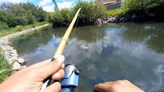 Сделал СПИННИНГ из БАМБУКА Рыбалка в микроречке Ловля щуки на спиннинг