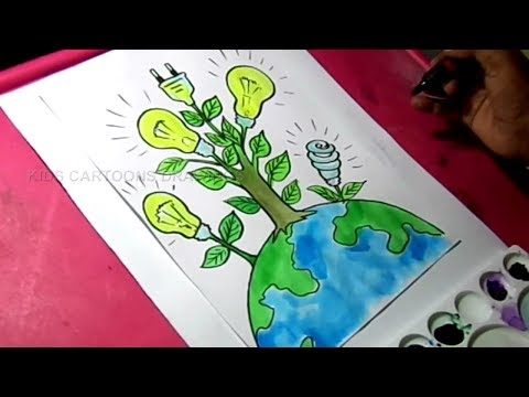 How to Draw Save Energy / Save Power Poster Drawing for Kids