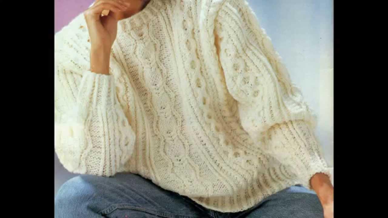 Patrón para tejer suéter inspiración irlandesa con trenzas - YouTube