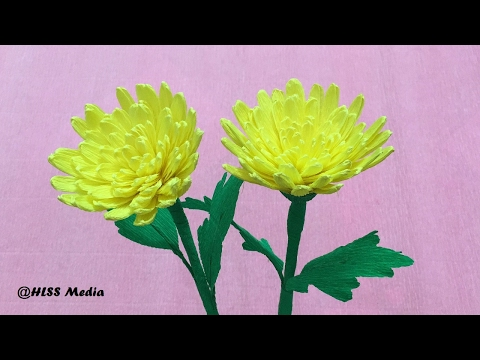 How to make DIY origami yellow chrysanthemum crepe paper flower/paper flower craft tutorials