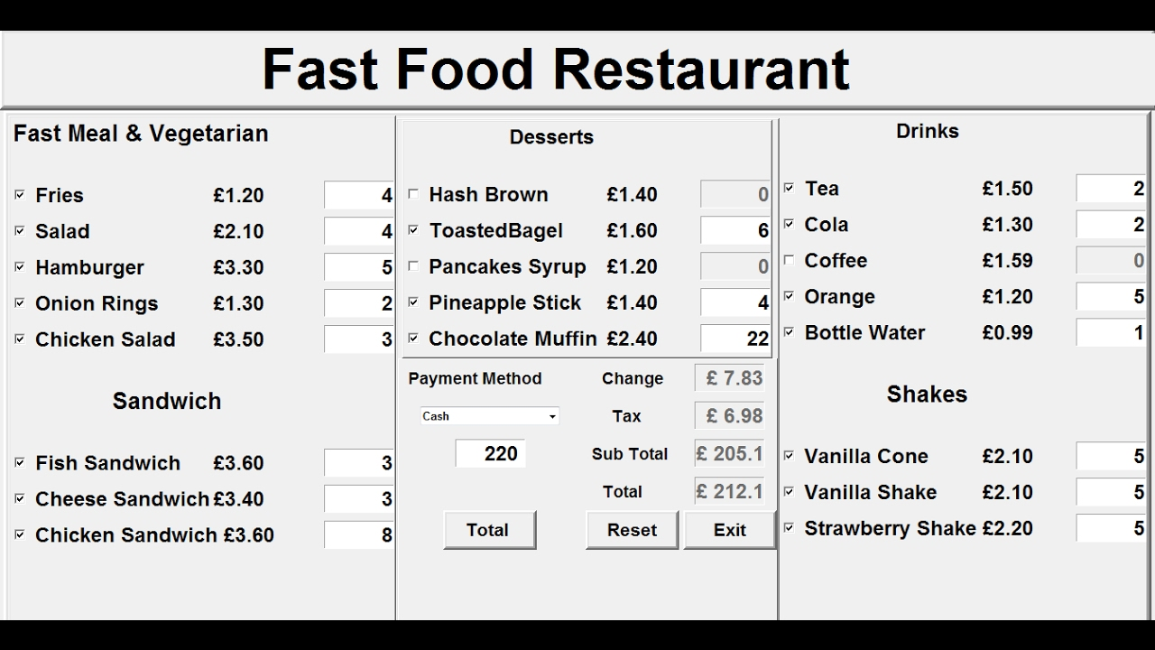 How to Create a GUI Fast Food Restaurant System in Python Tutorial 1 of 3