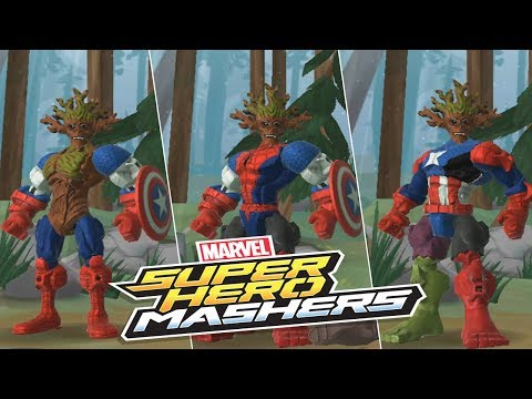 Marvel Super Hero Mashers - Groot Mix Captain America and Spader Man | Mix + Smash  part 2