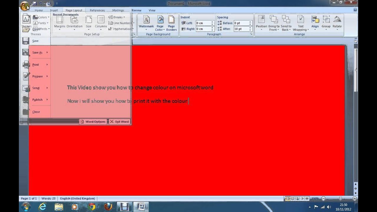 how to change colour on microsoft word and print the colour off ...