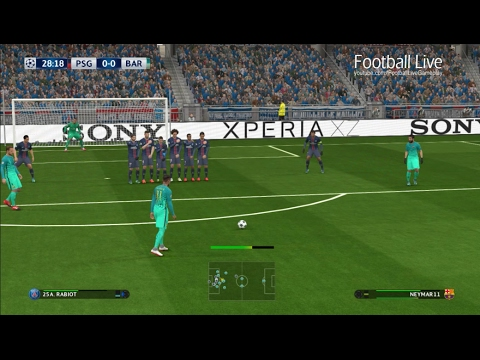 PES 2017 | PSG Vs Barcelona | Full Match U0026 Free Kick Goal | UEFA Champions League