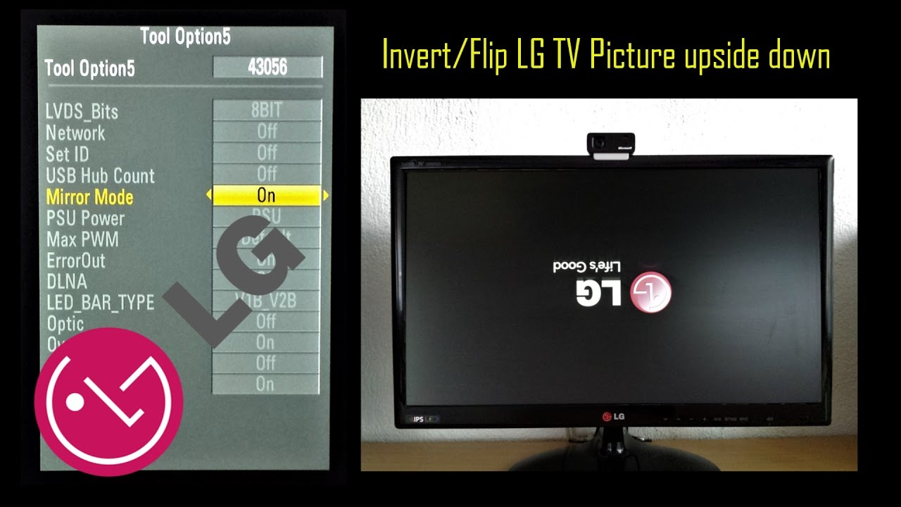 LG TV Flip/Invert Picture Upside Down  Mirror Mode with Service Menu