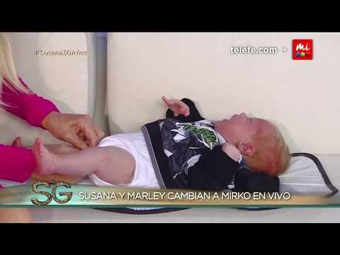 Susana le cambió los pañales a Mirko, el hijo de Marley, en vivo - Susana Giménez 2017