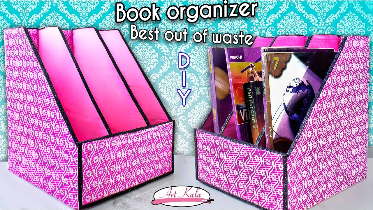 How to make book holder | Book organizer | Best out of ...