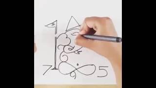 Artist Draw Ganpati Using Numbers 0 – 9!