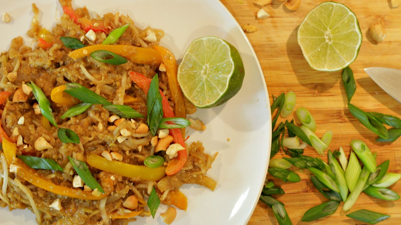 Beansprout Stir fry in Thai Peanut Sauce with Quinoa