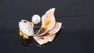"""Брошь с кристаллами и жемчужиной """"Золотая рыбка желаний"""" ► Обзор"""