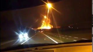Incendie dans une usine des palettes à Gilly 2012