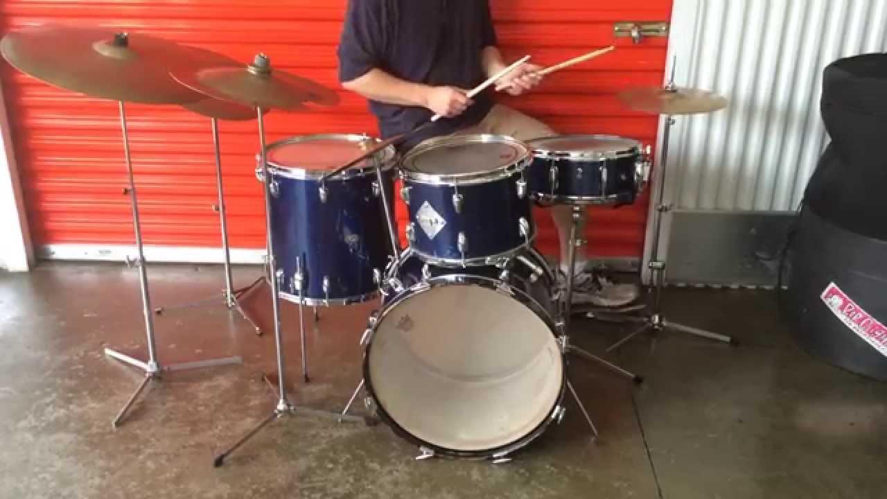 Vintage Early 1960's Slingerland Gene Krupa Deluxe Sparkling Blue Pearl Drum  Set