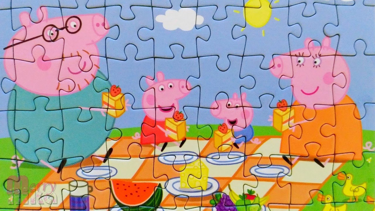 ПЕППА и семья - Пикник и клубничный пирог - Собираем пазлы для детей Свинка Пеппа
