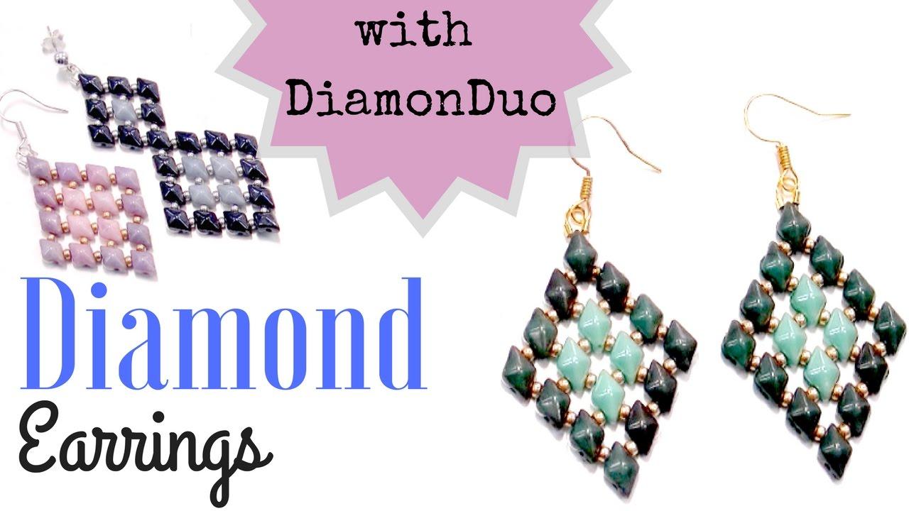 Beading Ideas Diamond Earrings With Diamonduo Youtube