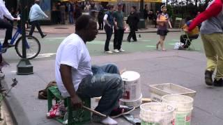 Soloist street drummer in NYC