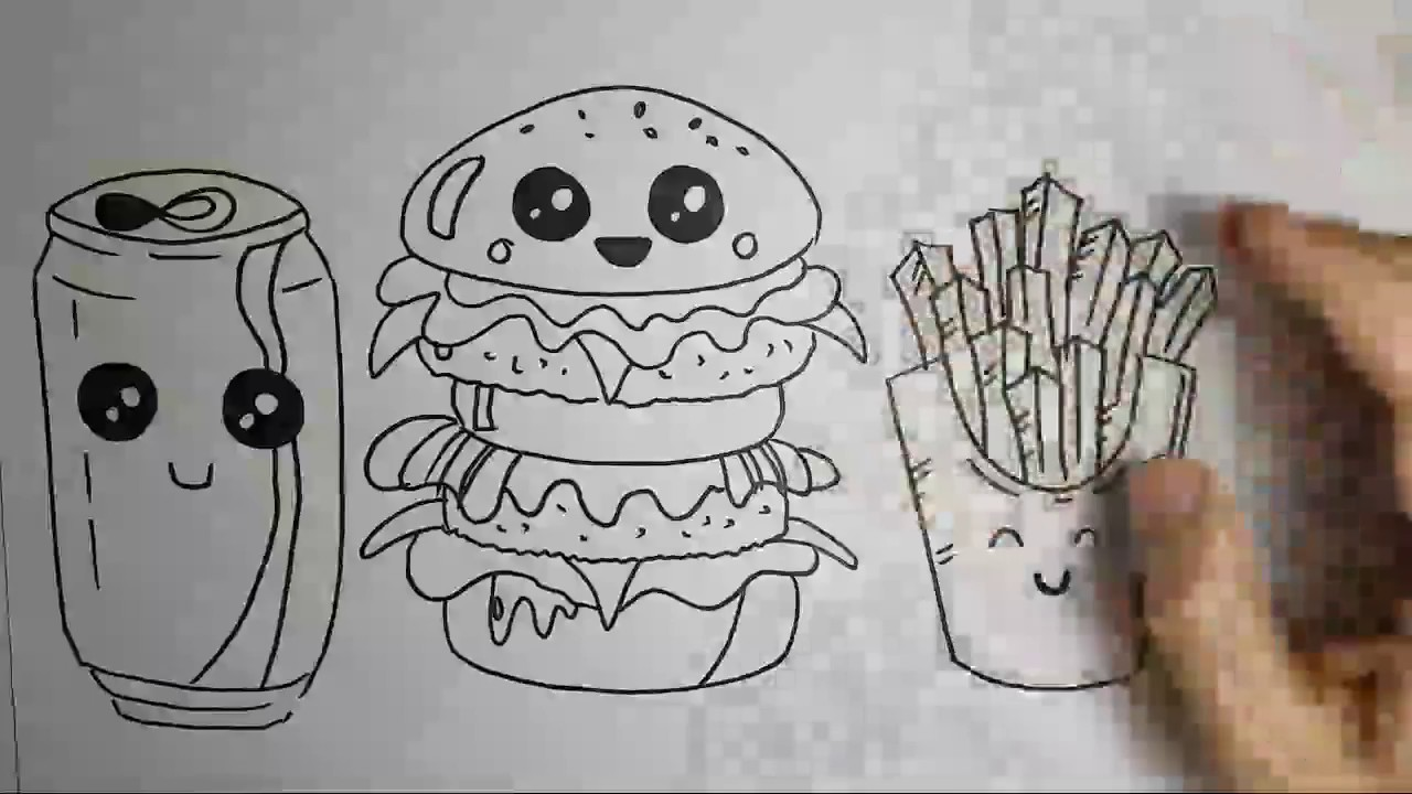 como desenhar hamburger refri e batata frita kawaii youtube
