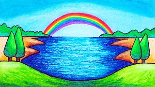 scenery rainbow draw drawing easy oil simple pastels step
