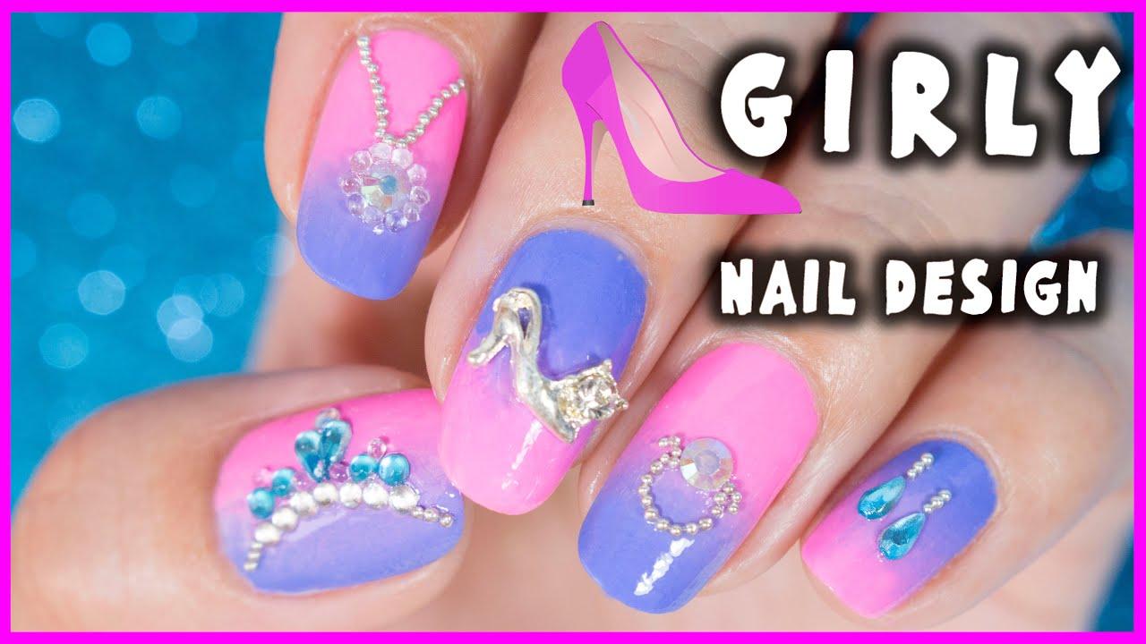 Girly Nail Art Design Nanasanzmes3 Youtube
