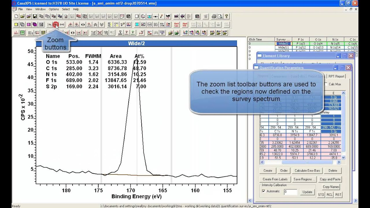 Creating a Quantification from a Survey Spectrum in XPS