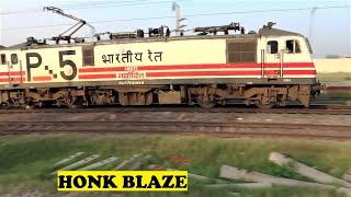 Navodit WAP5 Kanpur Shatabdi Honks Speeds Ajaibpur