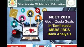NEET 2018 | RANK ANALYSIS | GOVERNMENT QUOTA SEATS IN TAMILNADU MBBS/BDS | தமிழ்
