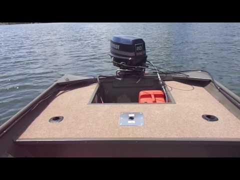 Stick steer Jon boat set up. Lake test.