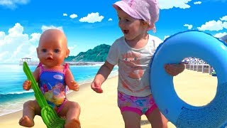 Kids with Baby dolls video Outdoor activity Play with baby born dolls and toys video