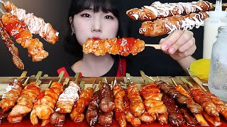 ASMR MUKBANG 소스듬뿍 수월한 닭꼬치 리얼사운드 먹방 spicy Chicken Skewers korean food ikan ayam 焼き鳥 xiên thịt gà