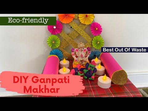 Ganeshji ka singhasan Ganpati decoration2020 DIY Ganesh Mandap Ecofriendly Makhar/ Ganesh Decoration from YouTube · Duration:  8 minutes 27 seconds