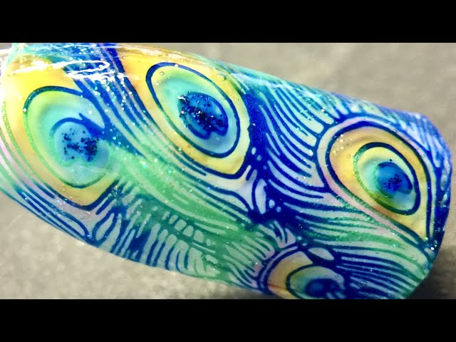 Live_ Peacock feather coloring nail art with sticky stamping polish and watercolor _SheModern