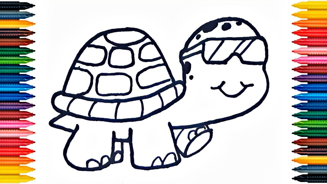 Drawing Turtle Learn How to Draw Turtle Colors Picture Coloring Book ...