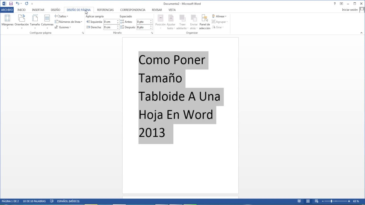 Como poner tama o tabloide a una hoja en word 2013 youtube for En word cual es el interlineado