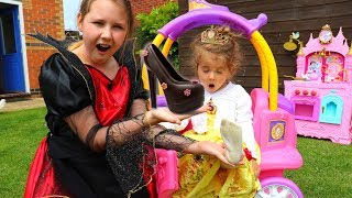 Kids Pretend Play with Princess Belle In Real Life Surprise Eggs and Magic Chocolate Shoes