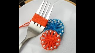 Hand Embroidery Amazing trick #sewing Hack With Fork #Flower Embroidery With Fork  #Sewing Hack