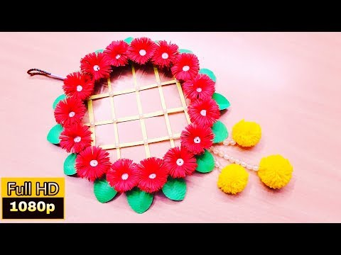 paper flower wall hanging | wall hanging with paper easy | wall decor diy ideas | DIY Wall hanging