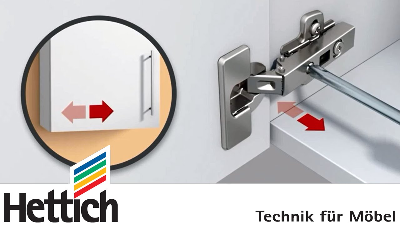 Adjusting cup hinges and doors: Do-It-Yourself with Hettich - YouTube