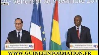 Conférence de presse conjointe de François Hollande, et Alpha Condé à Conakry