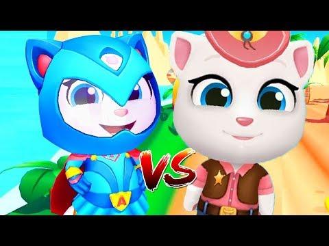 Talking Tom Gold Run VS Talking Tom Hero Dash - Angela VS Angela Super Hero - Gameplay, Android