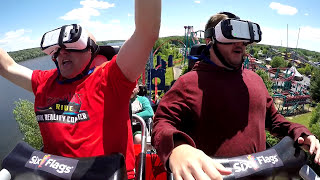 Superman The Ride Virtual Reality Coaster POV - Six Flags New England