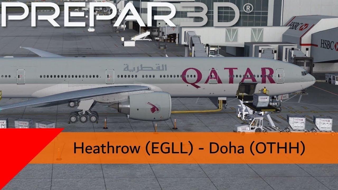 P3D V4 3 - Qatar 777-300ER - Heathrow to Doha (EGLL-OTHH)