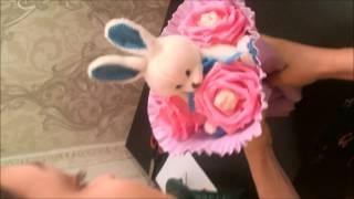 Подробное видео Букет из игрушек, букет из мишек, букет из конфет