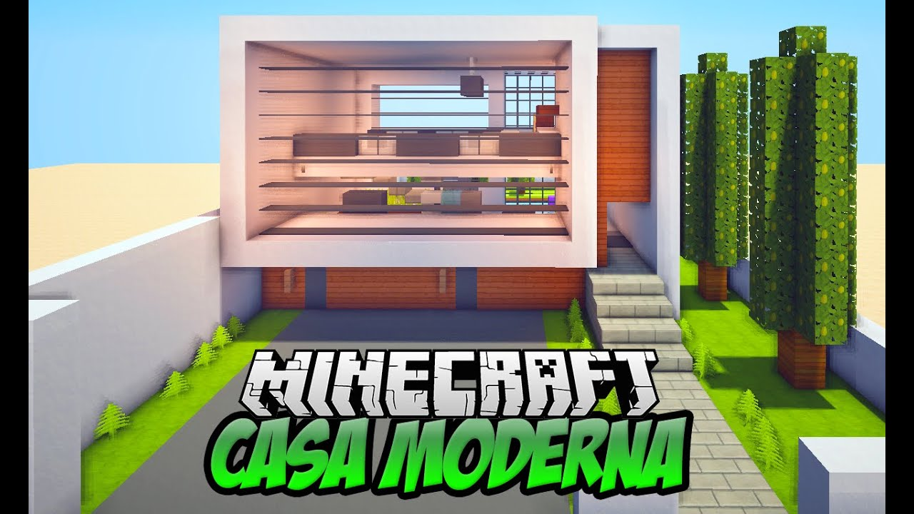 Como fazer uma casa moderna no minecraft pt 1 fachada for Casa moderna 1 8