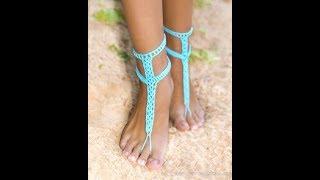 Вязаные Украшения на Ноги Крючком 2019/Knitted Crochet Ornaments/Gestrickte Dekorationen. Женские Ножки в Сандалях